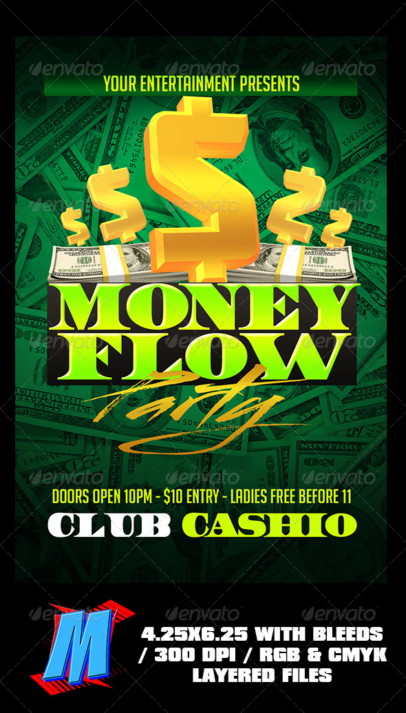 Money Flow Party Flyer Template By MegaKidGFX GraphicRiver - Money flyer template