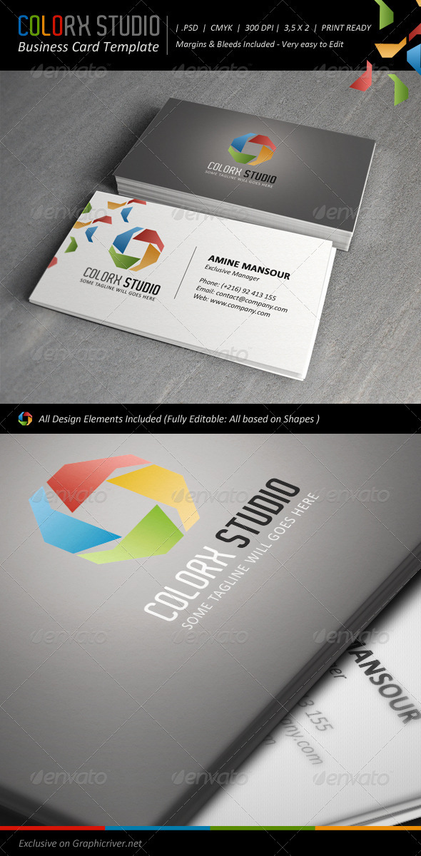 Colorx Studio Business Card Template - Corporate Business Cards