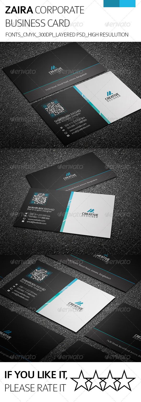 Zaira & Corporate Business Card - Corporate Business Cards
