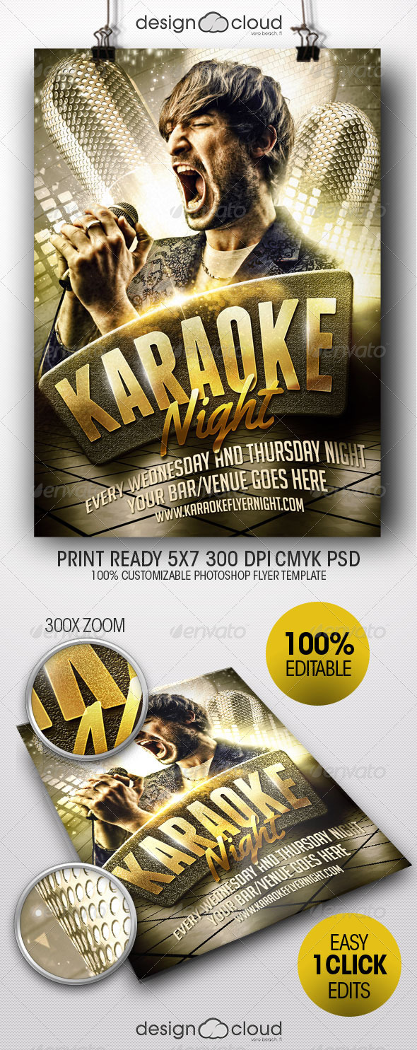 Karaoke Night Flyer Template - Clubs & Parties Events