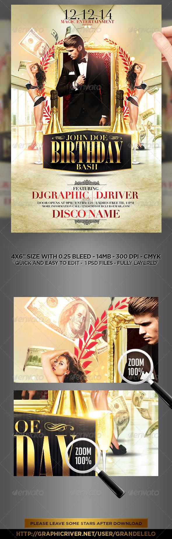 classy birthday bash flyer template by grandelelo graphicriver