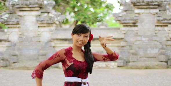 Girl Saluting With Both Hands In Bali 4 By Eldelik Videohive