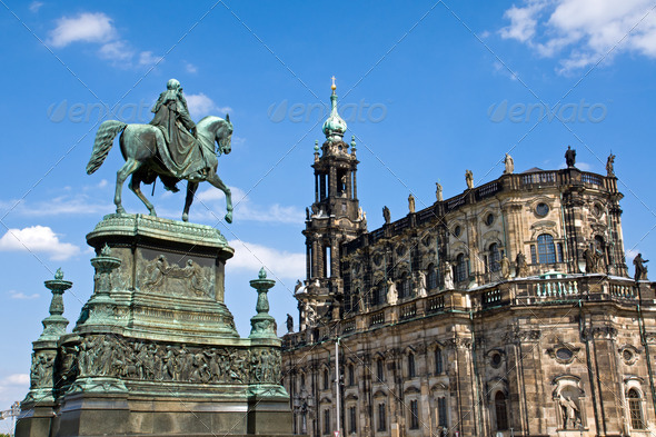 Sculpture and Hofkirche in Dresden - Stock Photo - Images