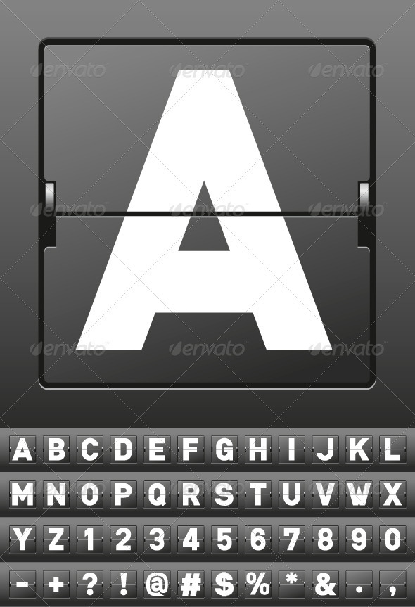 Vector Mechanical Scoreboard Alphabet - Decorative Vectors
