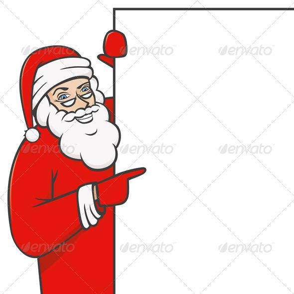 Vector Santa Claus Holding White Board - Characters Vectors