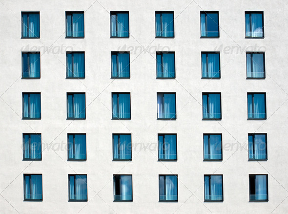 White facade with windows - Stock Photo - Images