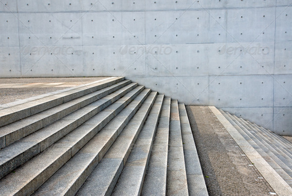 Granite stairs and a concrete wall - Stock Photo - Images