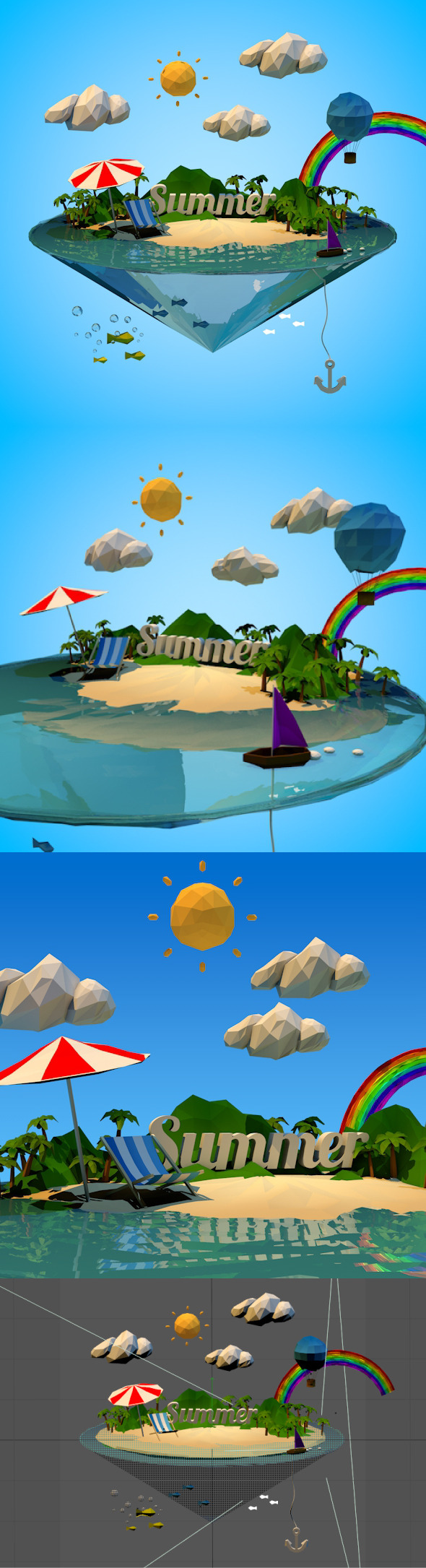 Abstract summer vacation with Low-poly style - 3DOcean Item for Sale