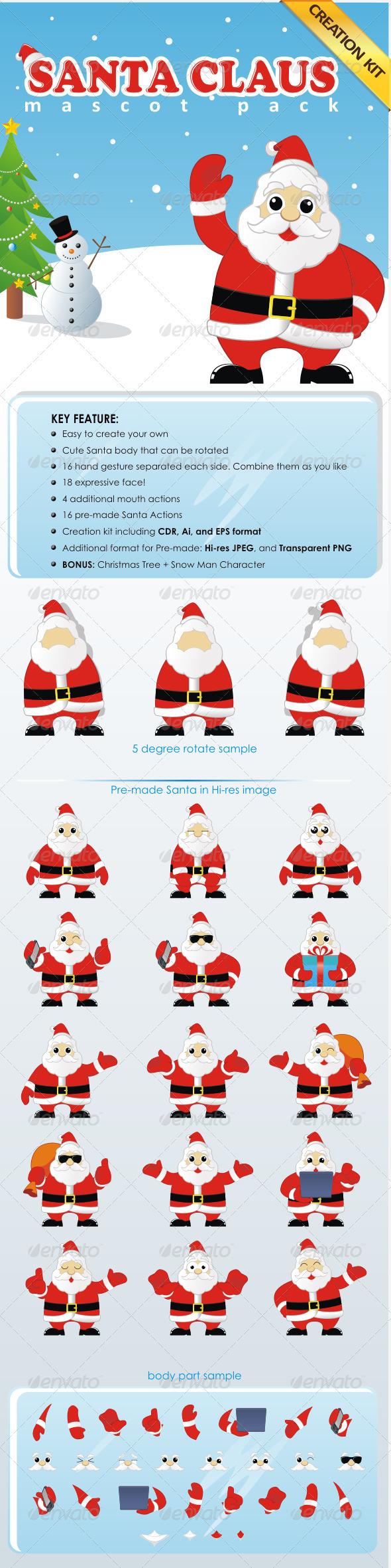 Santa Claus Mascot Pack - Creation Kit - People Characters