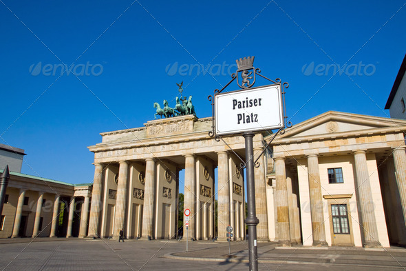 Brandenburg Gate with Street sign - Stock Photo - Images