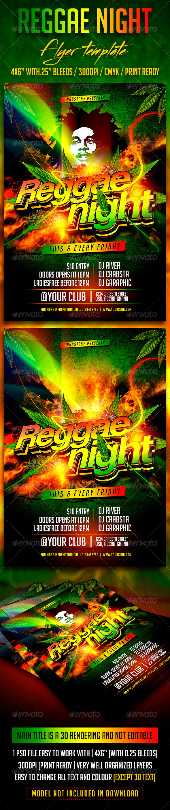 Reggae Night Flyer Template By Crabsta52 Graphicriver