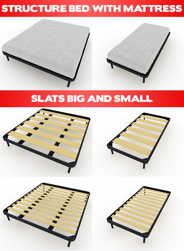 Bed Mattress and Slats - 3DOcean Item for Sale