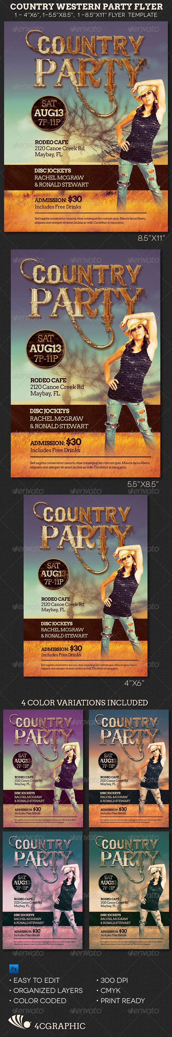 Country Western Party Flyer Template - Flyers Print Templates