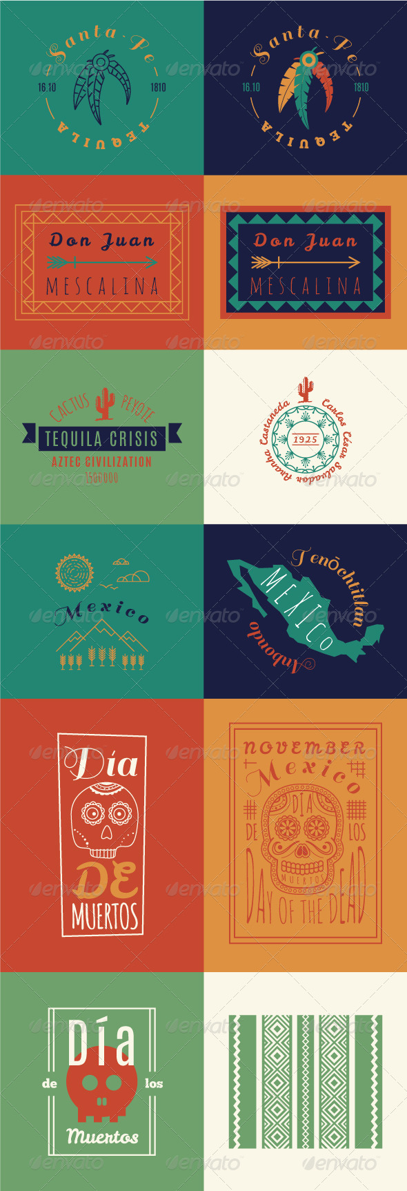 Mexican set Insignias Bundle - Miscellaneous Vectors