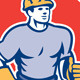 Construction Worker Thumbs Up Circle Retro - GraphicRiver Item for Sale