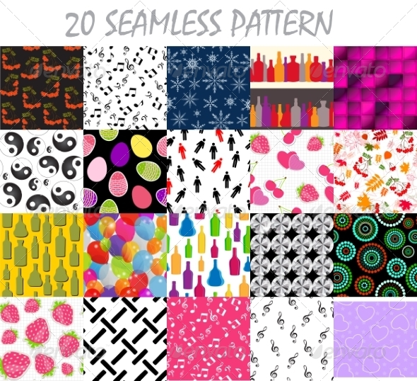 Seamless Pattern Background Vector Set - Backgrounds Decorative