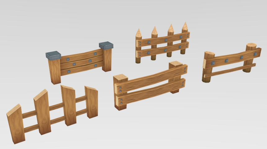 Low Poly Wooden Fence