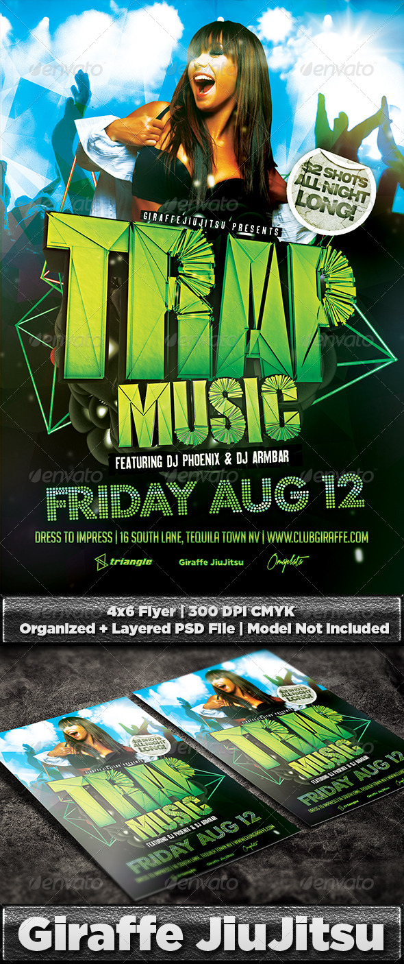 Trap Music Flyer Template PSD - Clubs & Parties Events