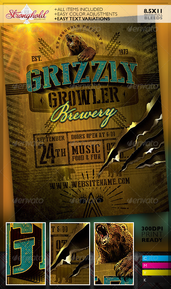 Grizzly bear growler brewery flyer template by for Brewery layout software