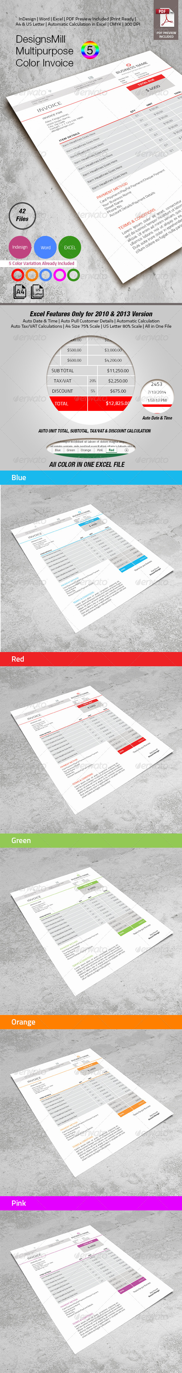 DesignsMill 5 Color Invoice - Proposals & Invoices Stationery