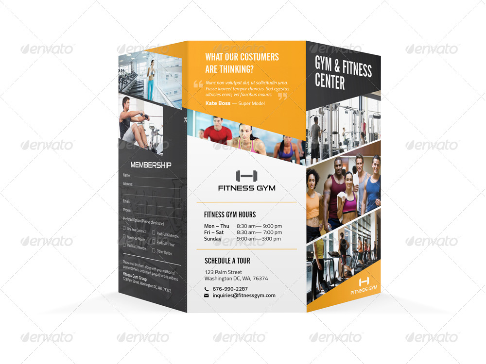 fitness gym trifold brochure by mike pantone