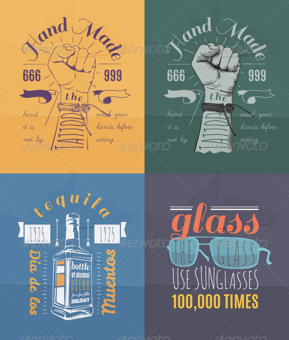 Trendy Retro Vintage Insignias Set - Miscellaneous Vectors