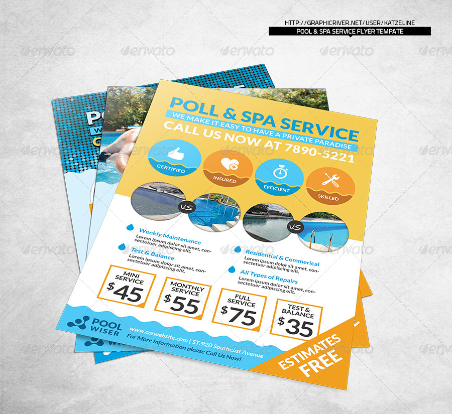 Pool Spa Service Corporate Flyer by katzeline GraphicRiver