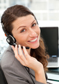 Pretty female representative on the phone with earpiece on - PhotoDune Item for Sale