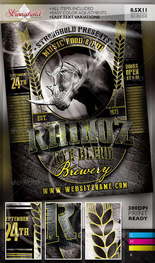 Rhino rye brewery flyer template by getstronghold for Brewery layout software