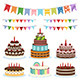 Colorful Birthday Banners and Cakes - GraphicRiver Item for Sale