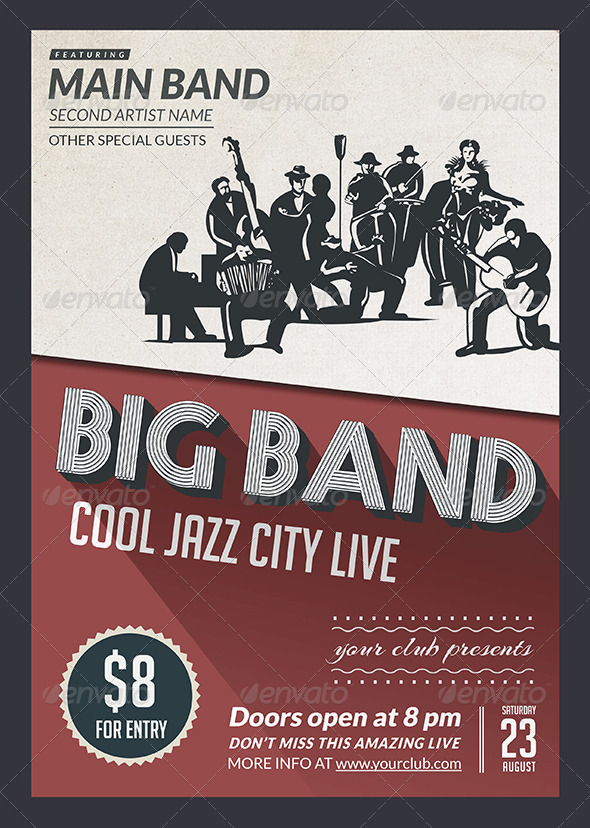 big band jazz flyer by dodosee