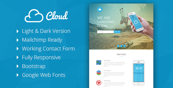 Cloud – Mobile App Coming Soon Responsive Template