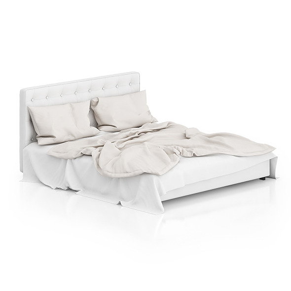 White Leather Bed - 3DOcean Item for Sale