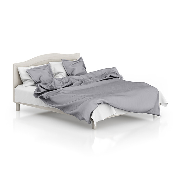 Wooden Bed with Grey Bedclothes - 3DOcean Item for Sale