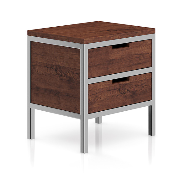 Wooden Bedside Cabinet with Metal Frame - 3DOcean Item for Sale