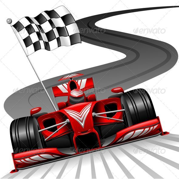 Formula 1 Red Car On Race Track   Sports/Activity Conceptual