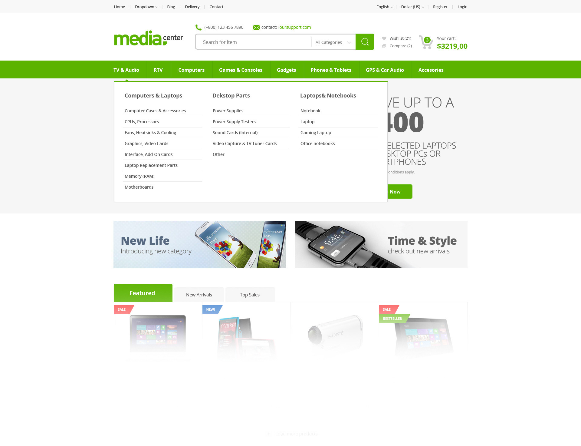 Media Center - Electronic eCommerce PSD Template by bcube ...
