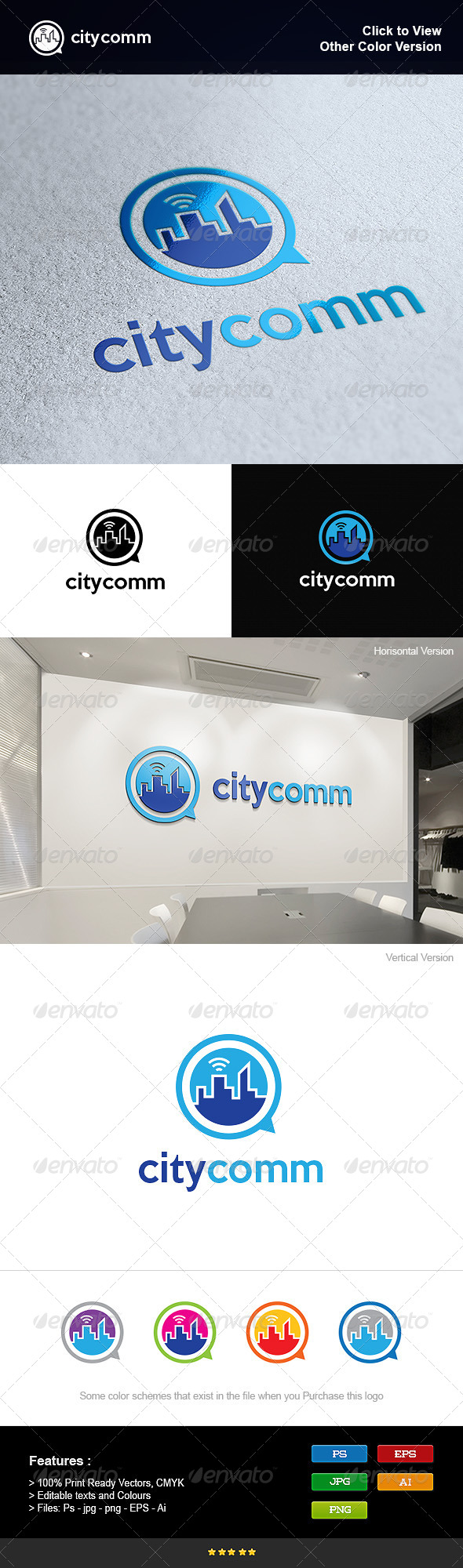 Communications in the City - Symbols Logo Templates