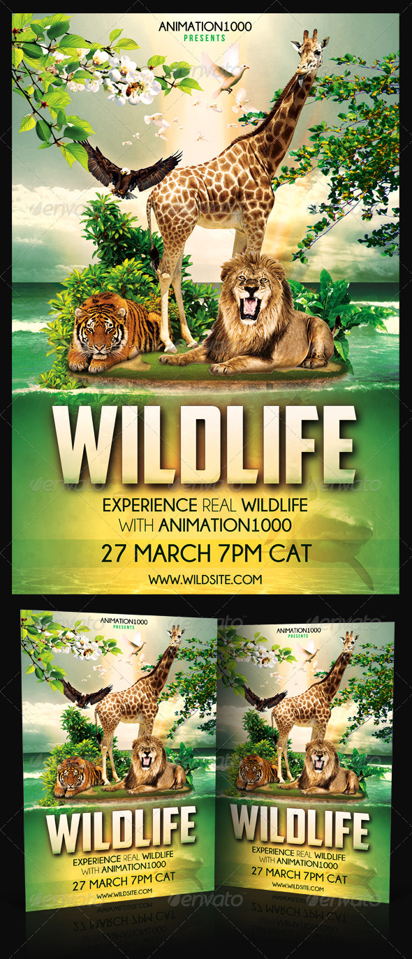 Wildlife Flyer Template PSD - Clubs & Parties Events