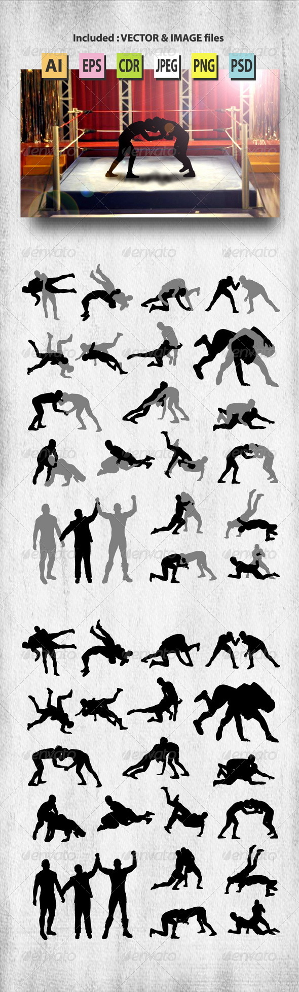 Wrestling Silhouettes - Sports/Activity Conceptual