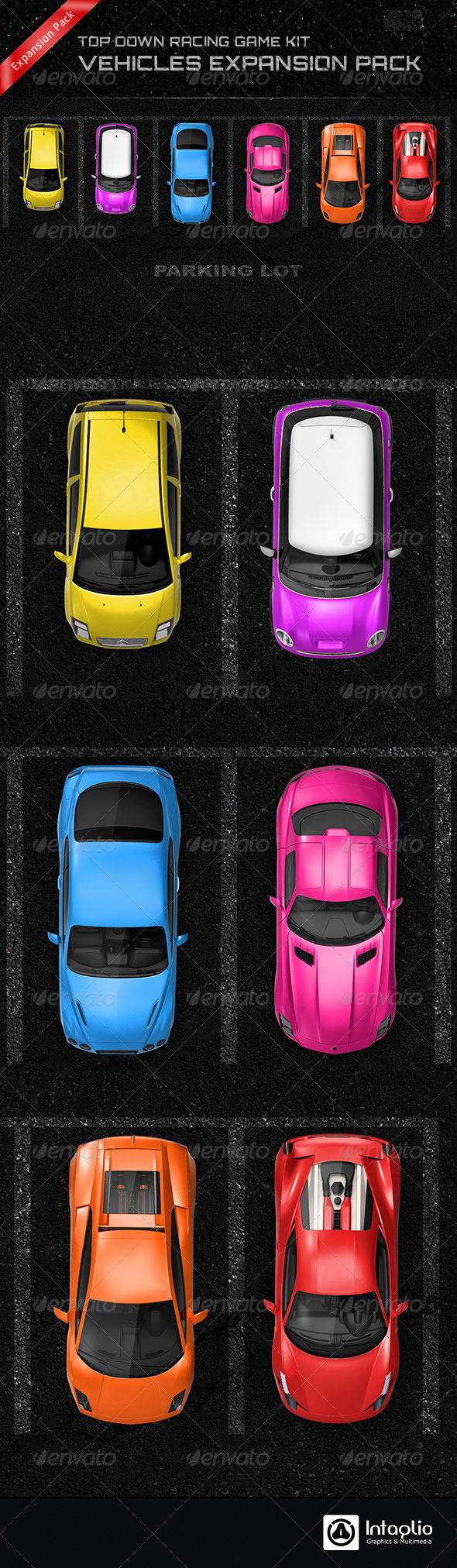 Top Down Racing Game Kit - Vehicles Expansion Pack - Illustrations Graphics