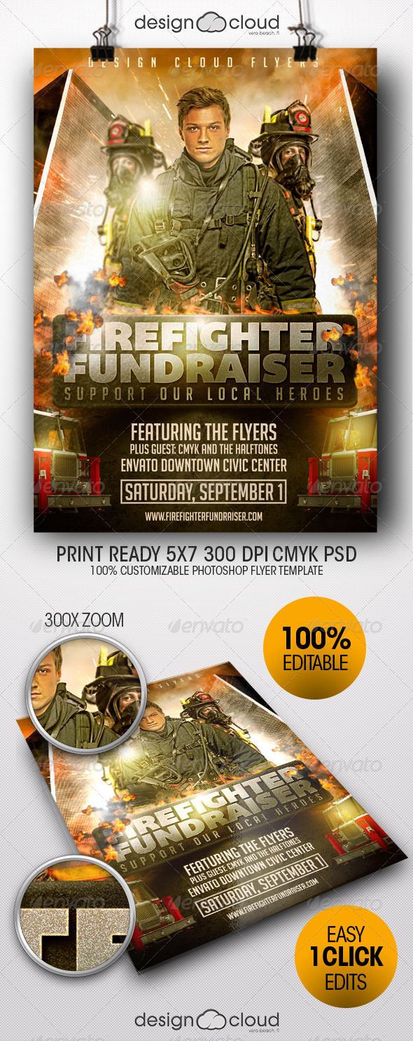 Fire Fighter Fundraiser Event Flyer Template - Miscellaneous Events