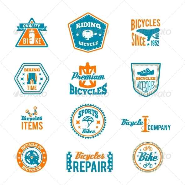 Set of Bicycling Label
