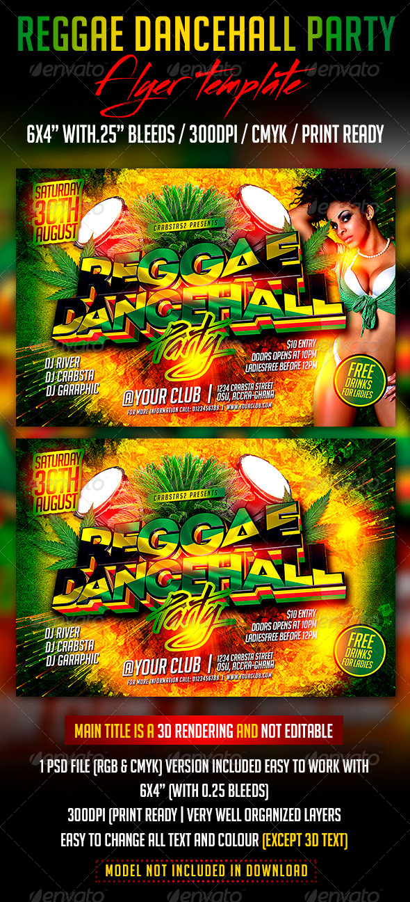 Reggae Dancehall Party Flyer Template By Crabsta  Graphicriver