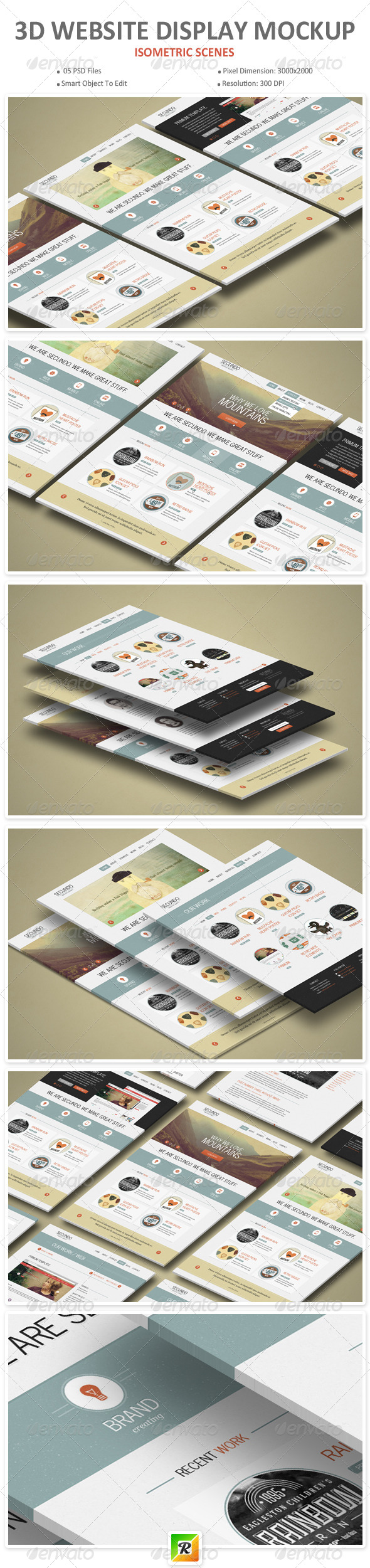 3d Website Display Mockup