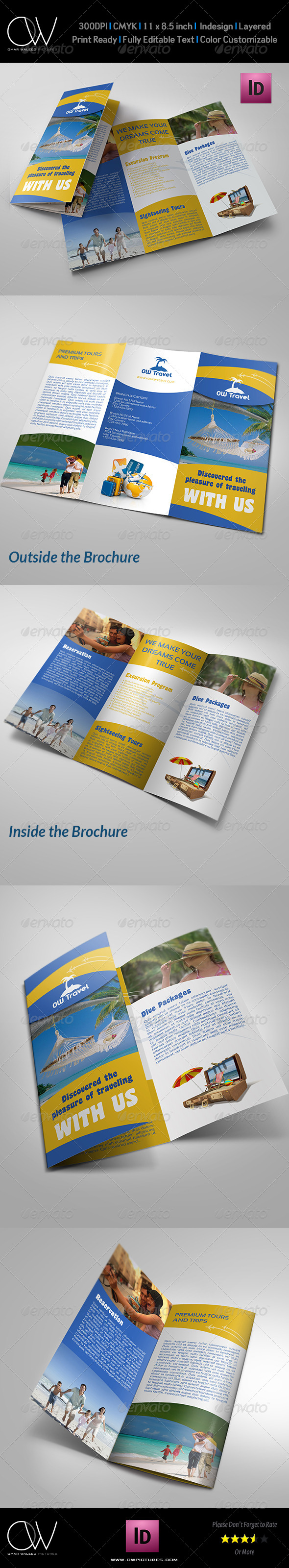 Travel company tri fold brochure template by owpictures for Brochure templates envato