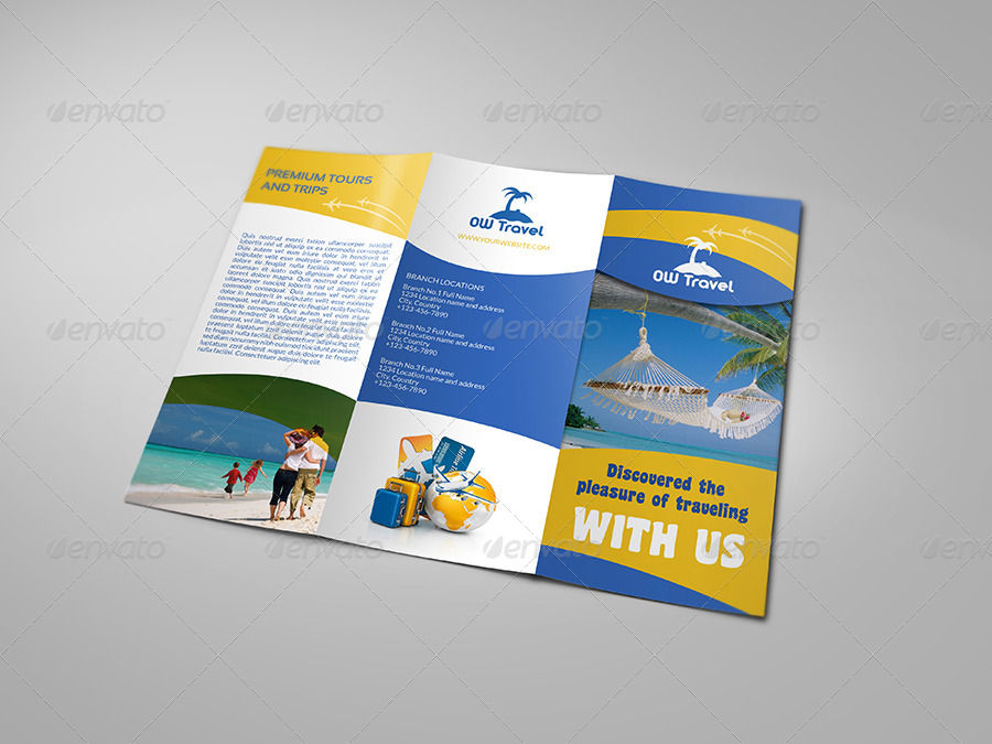 tri fold travel brochure template - travel company tri fold brochure template by owpictures