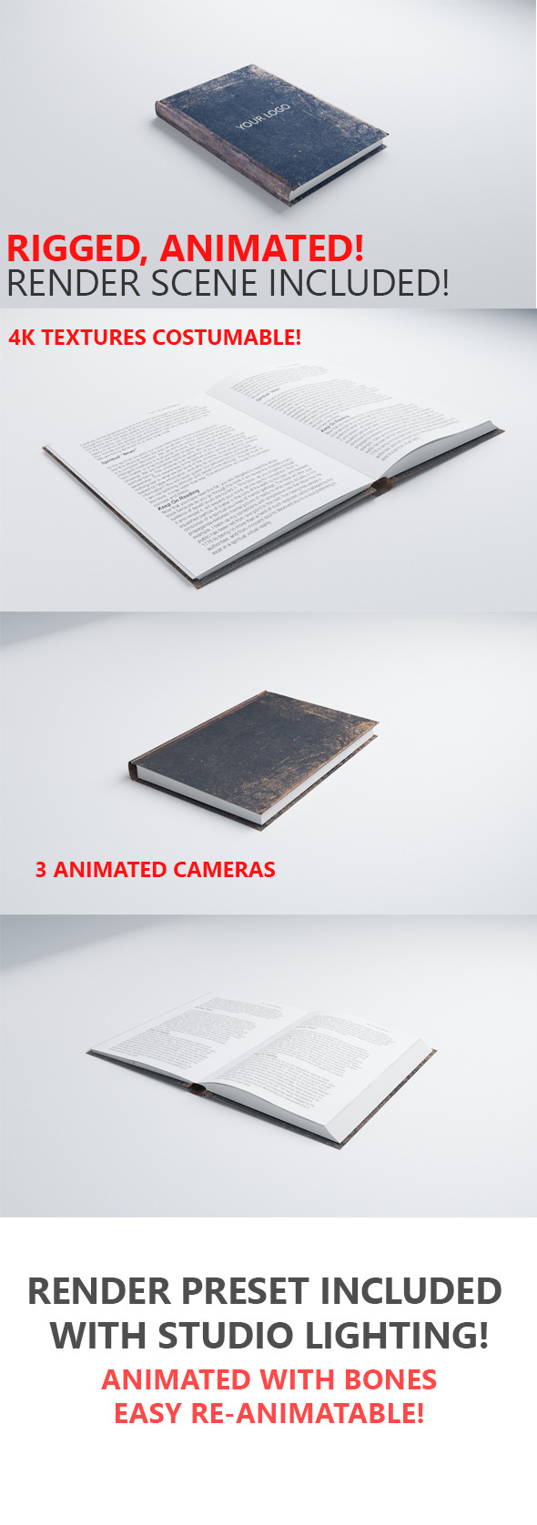 3D Book Rigged & Animated - 3DOcean Item for Sale