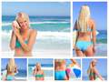 Collage of an attractive blonde woman posing on a beach - PhotoDune Item for Sale