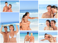 Collage of lovely couples having fun on a beach - PhotoDune Item for Sale